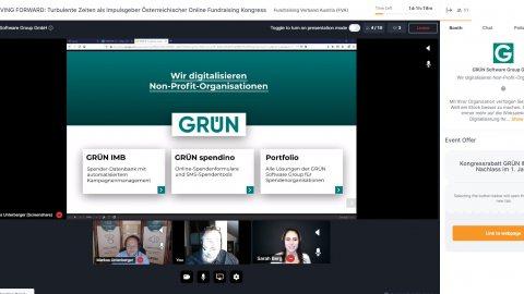 Unsere Kollegen Markus Unterberger, Ralph Backes und Sarah Marie Berg beim digitalen 27. Österreichischen Fundraising Kongress.