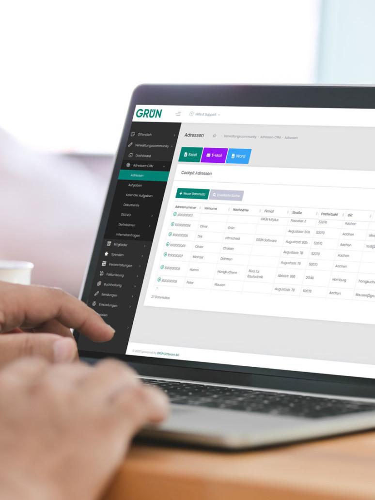 Online membership management GRÜN eVEWA