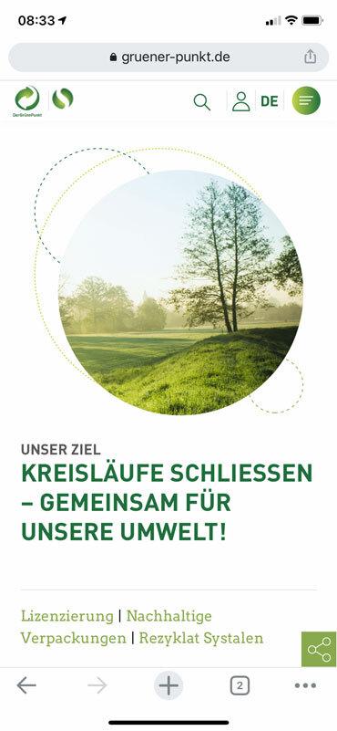 Die Startseite auf der mobilen Version von gruener-punkte.de