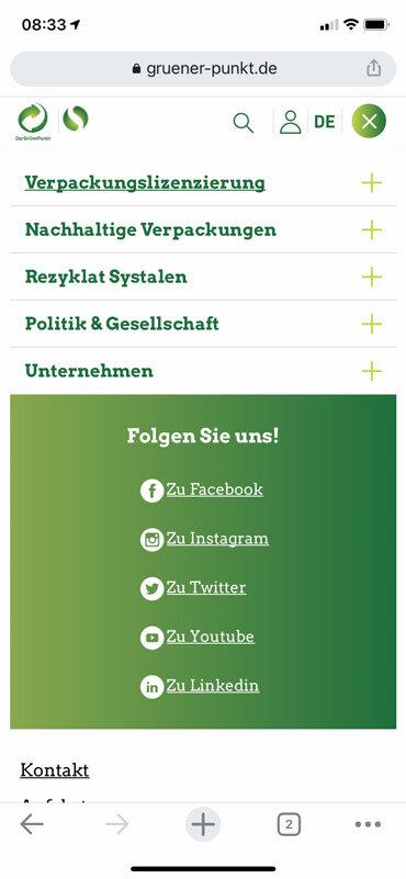 Navigation auf dem Smartphone der Website bei gruener-punkte.de