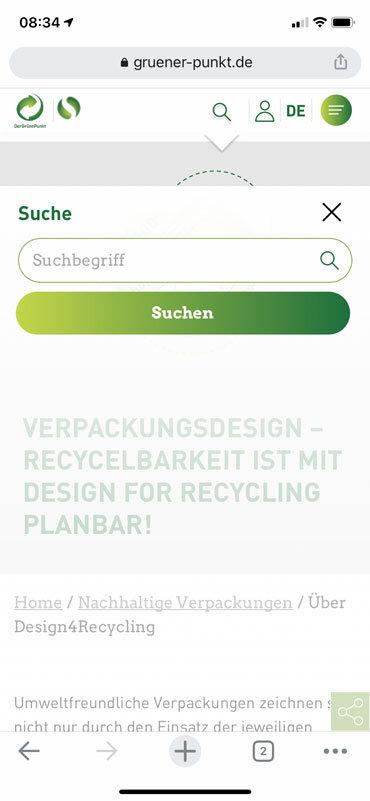 Die Suche bei gruener-punkte.de