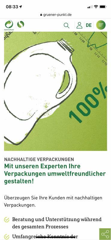 Darstellung von Inhalten auf der mobilen Version von gruener-punkt.de