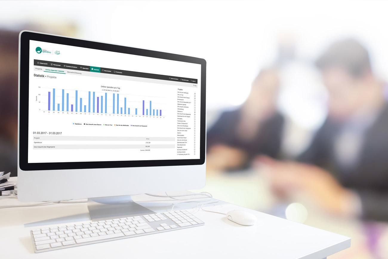 Umfangreiche Auswertungsmöglichkeiten der Online-Fundraising-Aktivitäten seit dem neuen Release von GRÜN spendino.