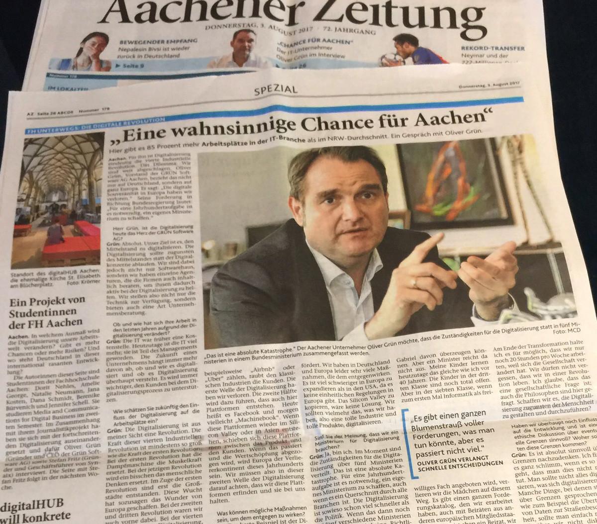 Die Aachener Zeitung veröffentlichte am 3. August 2017 ein Grundsatz-Interview mit Oliver Grün.