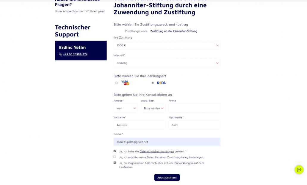 Das Online Spendenformular von GRÜN spendino bei den Johannitern.