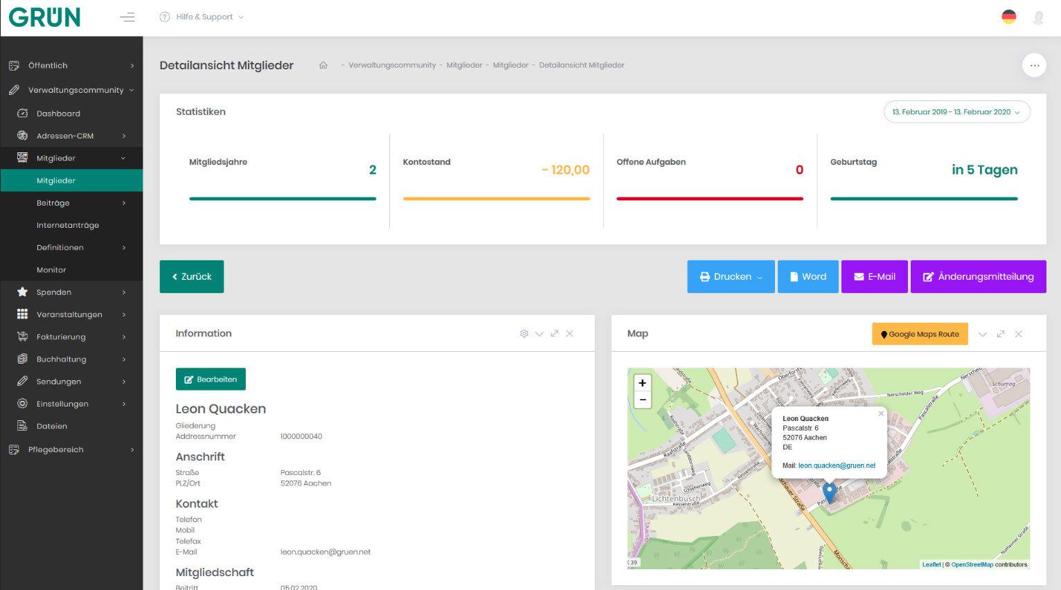 GRÜN eVEWA4: Mitgliederverwaltung & CRM