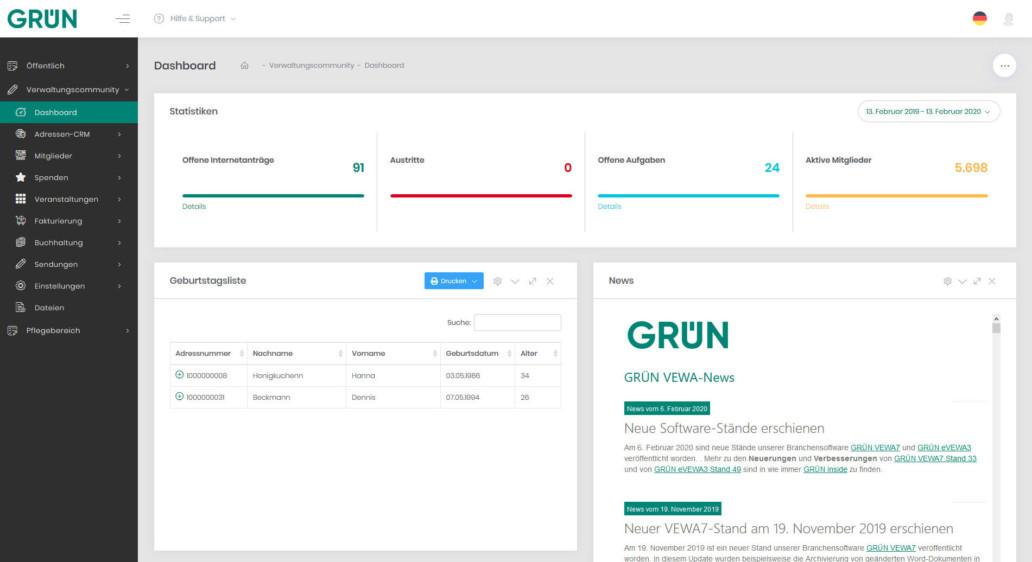 GRPN eVEWA: Online Mitgliederverwaltung & CRM