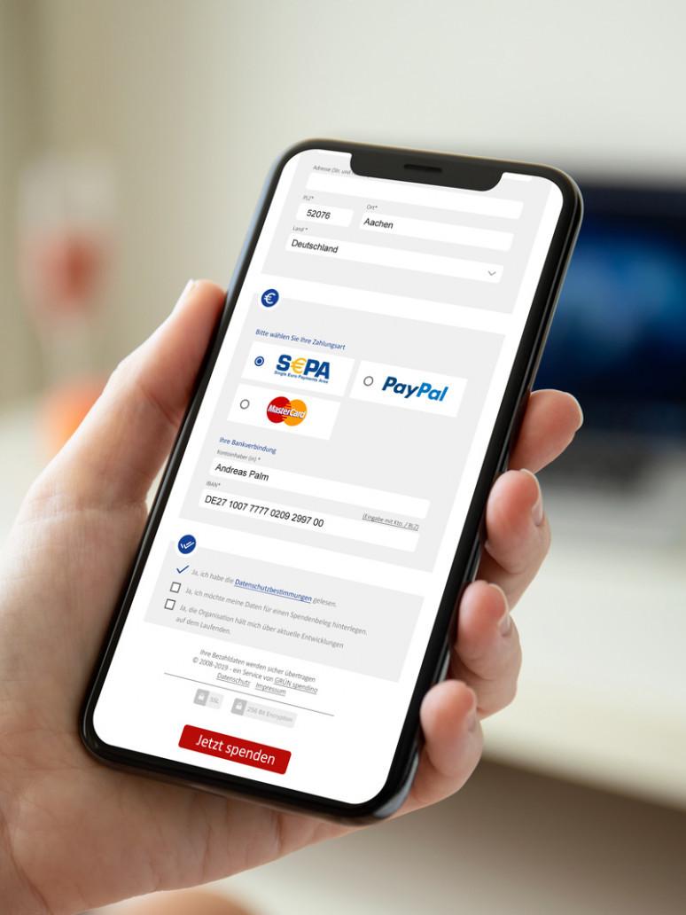 Online donation form GRÜN spendino