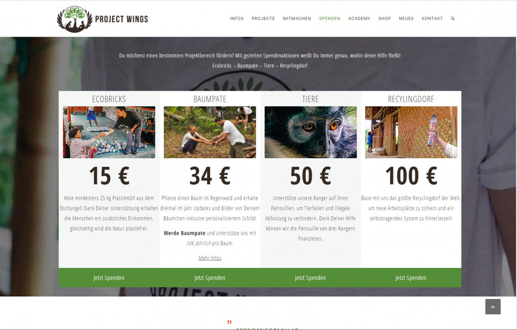 Donation projects at Project Wings.