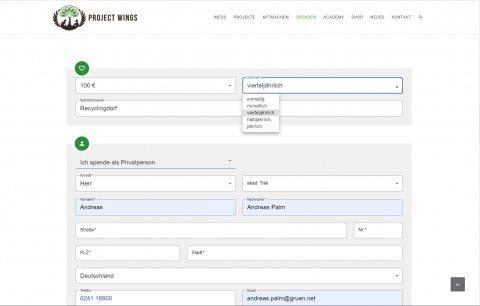 Online Spendenformular bei Project Wings.