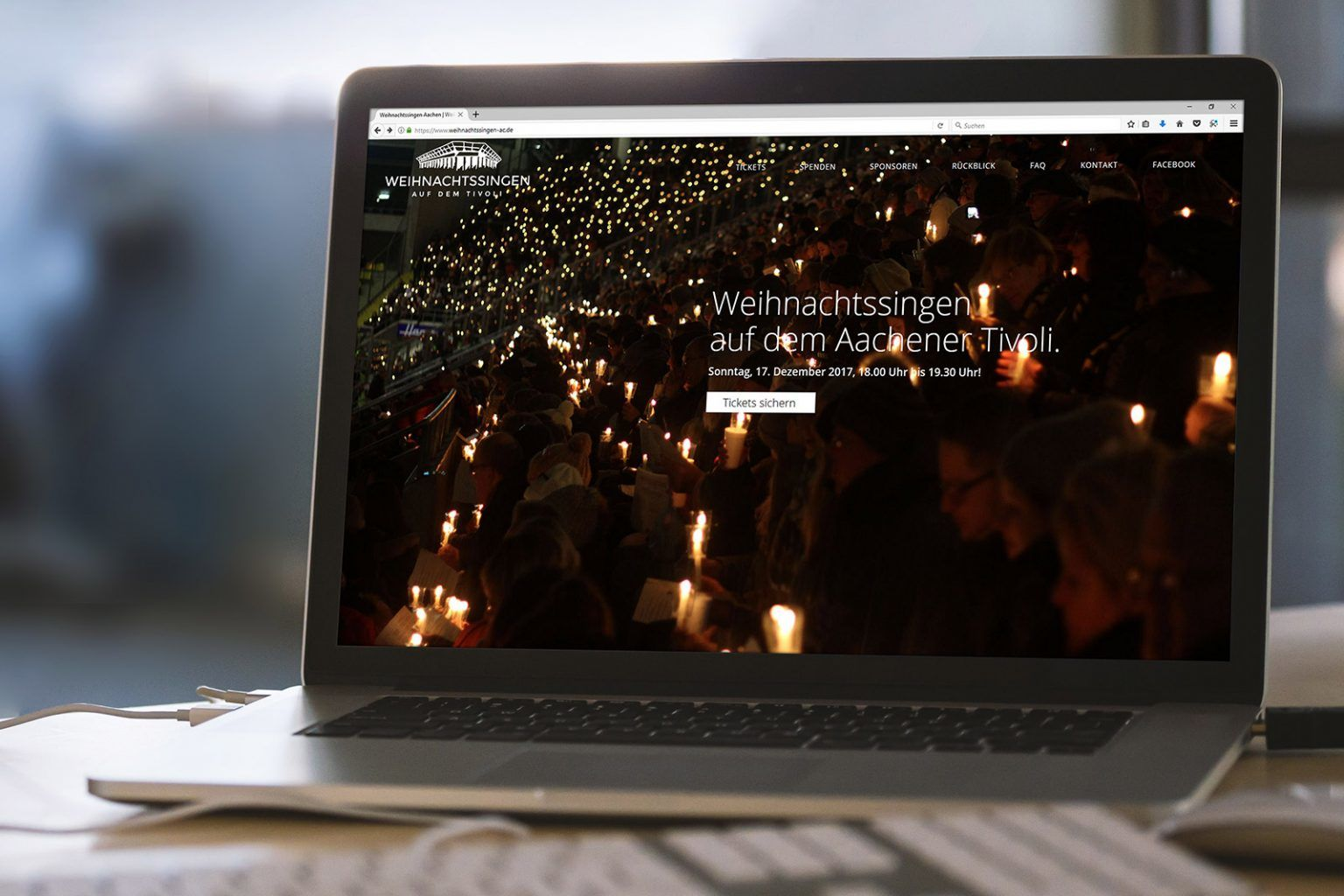 Die neue Webseite zum Weihnachtssingen auf dem Aachener Tivoli wurde von der GRÜN Software AG komplett überarbeitet.
