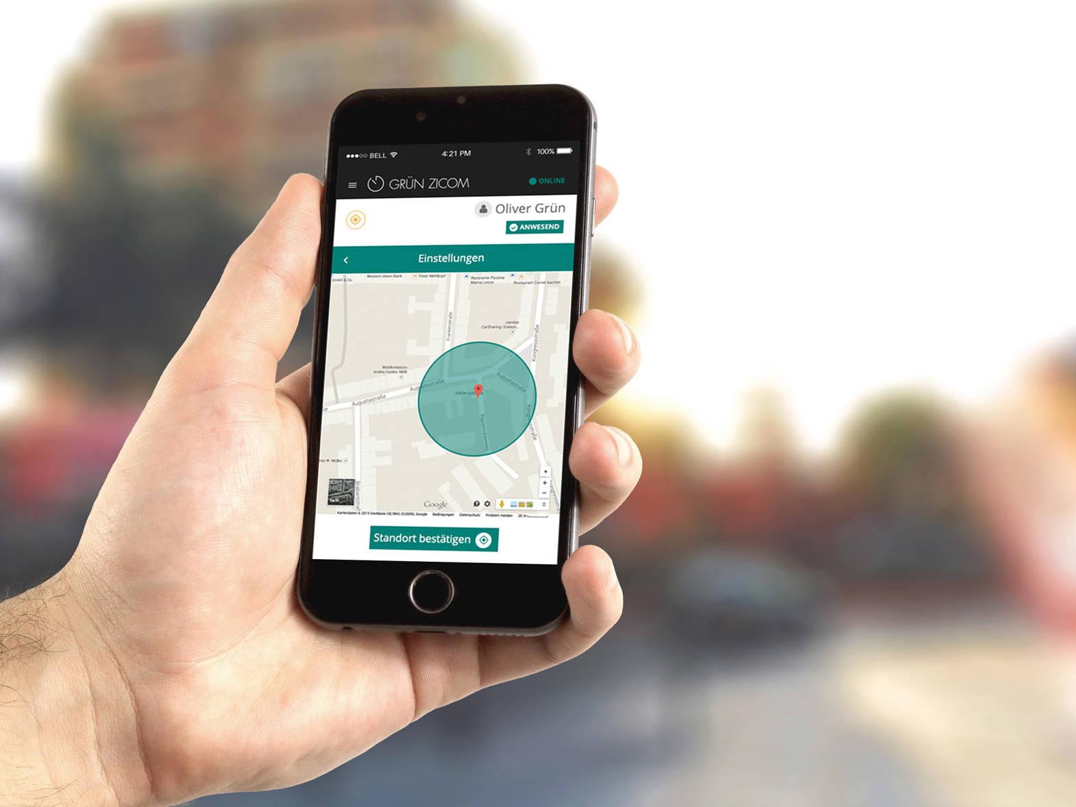 GRÜN mZICOM: Vollautomatische Zeiterfassung über die native Smartphone-App.