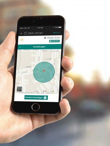 GRÜN mZICOM: Fully automatic time recording via the native smartphone app.